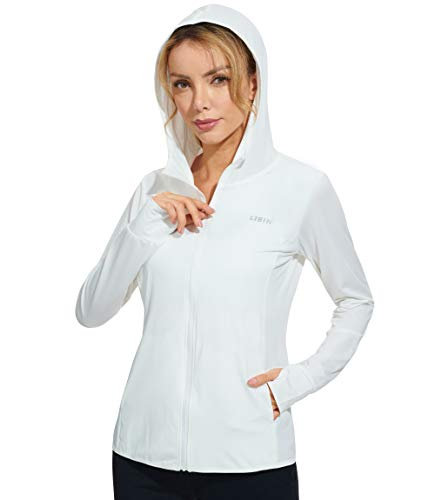 Libin Women's Full Zip UPF 50+ Sun Protection Hoodie Jacket Long Sleeve Sun Shirt Hiking Outdoor Performance with Pockets White XS