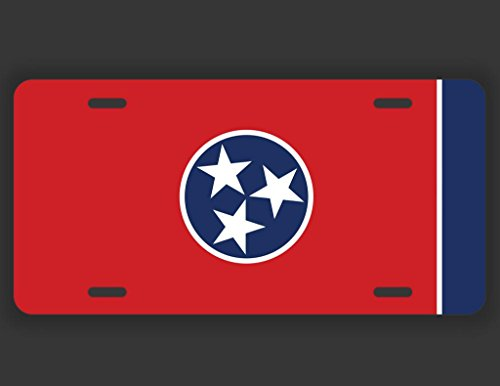JMM Industries Tennessee State Flag License Plate Tag Vanity Novelty Metal | UV Printed Metal | 6-Inches By 12-Inches | Car Truck RV Trailer Wall Shop Man Cave | UVP030