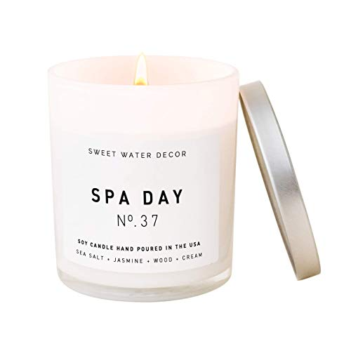 Sweet Water Decor Spa Day Candle   Sea Salt, Jasmine, and Wood Relaxing Scented Soy Candles for Home   11oz White Glass Jar, 50 Hour Burn Time, Made in the USA