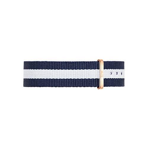 Daniel Wellington Classic Glasgow Cinturino Unisex Adulto, 18mm, in NATO, Blu/Bianco/Oro Rosato