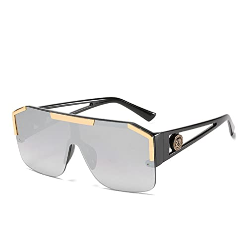 Gafas de sol cuadradas de gran tamaño para hombres y mujeres, estilo vintage, marco grande, semirriante, una lente sin montura UV400 (color: negro, gris, rosa)