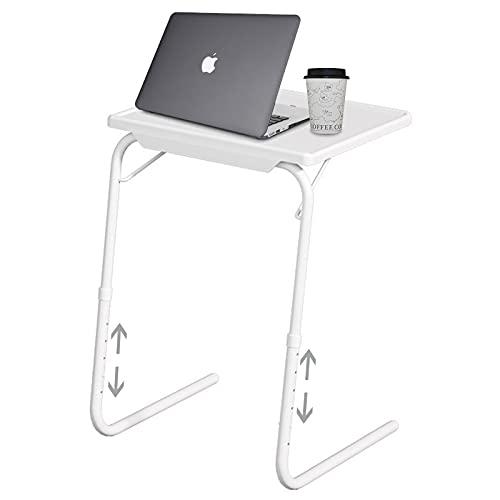 La altura del soporte para portátil de la mesa auxiliar se puede ajustar de 55 a 73 cm. La estructura de acero es fácil de montar. Diseño ergonómico. Escritorio de la computadora de escritorio. Blanco