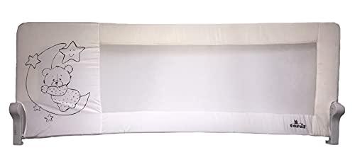 Barrera de cama nido para bebé, 180 x 66 cm. Modelo osito y luna beige. Barrera de seguridad. Sello...