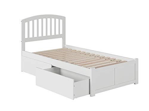 Atlantic Furniture Richmond Platform Bed with 2 Urban Bed Drawers, Twin bed, in White