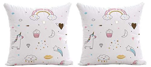 Lovelegis 2 Fundas de Almohada Almohada Cuadrada - 44 x 44 cm - Almohada Decorativa - Lino - sofá - Cama - Dormitorio - Muebles - niños - Unicornio - arcoíris - Estrellas - Kawaii - Multi- Blanco