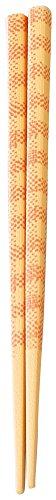 福井クラフト 箸 日本製 18cm お弁当用・クリアケース付き 【食洗機・乾燥機・電子レンジOK】 四角木目箸 クロスオレンジ ZA-422253