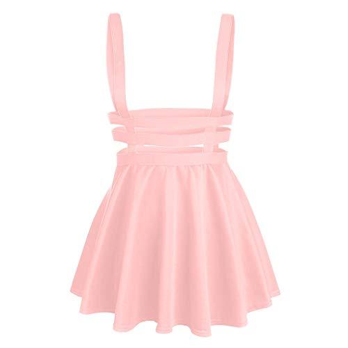 Damen Cut Out Kleid A Linie Kleid Halloween Träger Minirock Röcke Hosenträger Rock Mini Plissiert Kleider