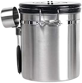 Airtight Coffee Canister Stainless Steel Coffee Storage Containers With Scoop And Day Month product image