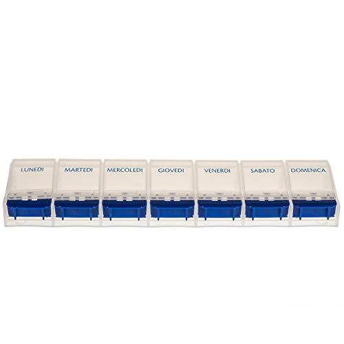 Vanlo Pillendose mit 7 Fächern für eine Woche in weiß/blau mit Öffner, Pillenbox, Tablettendose, Medikamentendose- italienisch
