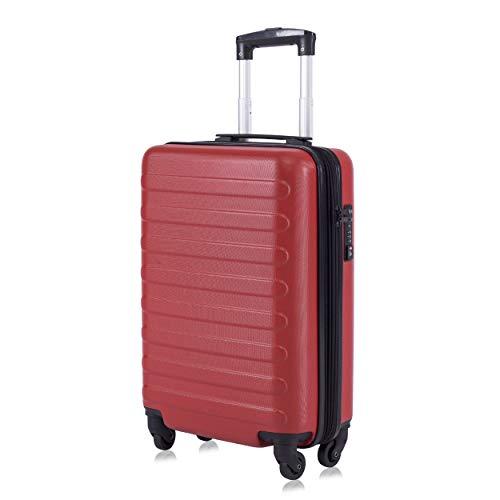 Toctoto Equipaje De Mano Expandible con Bloqueo TSA (20 41LT 55x35x20cm), Adecuado para Vuelos De Bajo Costo Ryanair, Vueling, Wizz Air(20(55cm-41L)-Rojo)