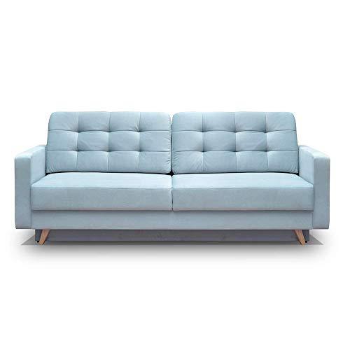 Vegas Mid-Century Modern Tufted Futon Sofa, Queen Sleeper with Storage (Blue)