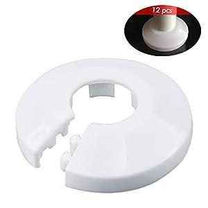 WEKON 12pcs Radiador Plástico de Tubo, Collar para Tubería, Roseta de Tubo, Cubierta Collar de Tubo, Cubierta de Tubería…