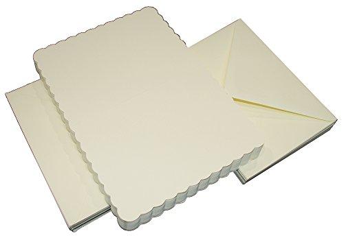 Crafts UK Lot de 50 Cartes dentelées et enveloppes Blanches - 12,7 cm x 12,7 cm, Ivoire, 121 x 182 x 0.64 cm