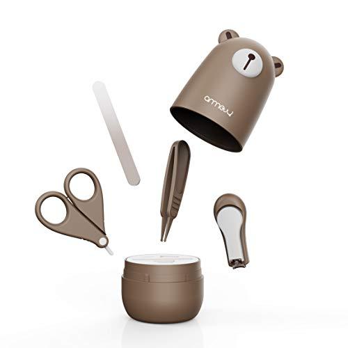 ARRNEW Baby 4in1 Pflege-Set für Fingernägel und Fußnägel mit Nagelknipser, Nagelschere, Nagelfeile und Pinzette für Kinder und Neugeborene in süßer Bären Geschenk-Verpackung (Kaffee)