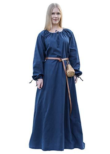 Battle Merchant ANA - Abito Donna Medievale - per Costume Vichingo e Giochi di Ruolo dal Vivo (Larp) - Blu - S