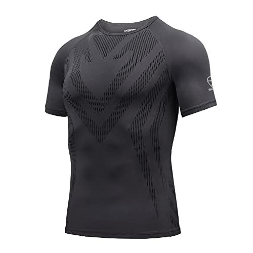 AMZSPORT Maglietta a Compressione da Uomo Manica Corta T-Shirt Running Maglia Sportiva da Ciclismo Fitness, Grigio, XL