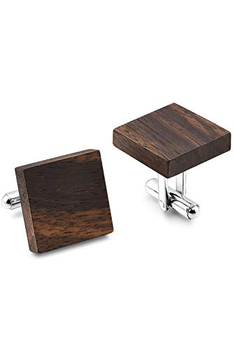 THREE KEYS JEWELRY Mens Square Wooden Stainless Steel Wedding Cufflinks for Men Women with Natural Ebony Wood Inlay Plain Handcrafted Business Matte Retro Vintage Cufflink