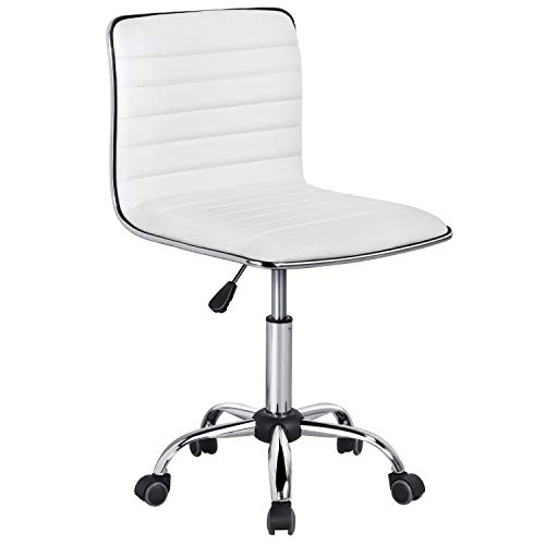 YAHEETECH Adjustable Task Chair PU Leather Low Back Ribbed Armless Swivel White Desk Chair Office Chair Wheels