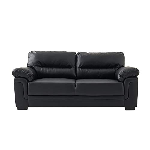 Panana Modern Compact Sofa Faux Leather 3 Seater Sofa Chaise Group Settee Couch with Wood Frame for Living Room Black