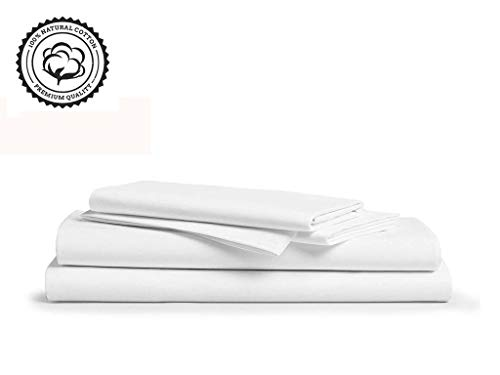 "LINENWALAS 800 Thread-Count 100% Pure Cotton Bed Sheets On Amazon 4Pc Full Size White Color Sheet Set-Long Staple Combed Cotton Yarns,Best Luxury Sateen Weave,Fits Mattress Upto 16"" Deep Pocket."