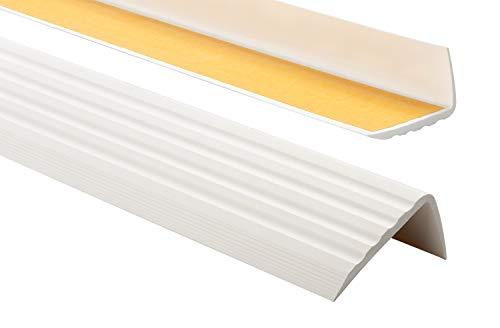 PVC Treppenkantenprofil Selbstklebend Winkelprofil Anti-Rutsch Treppenkante 41x25mm 1,10m, Weiß