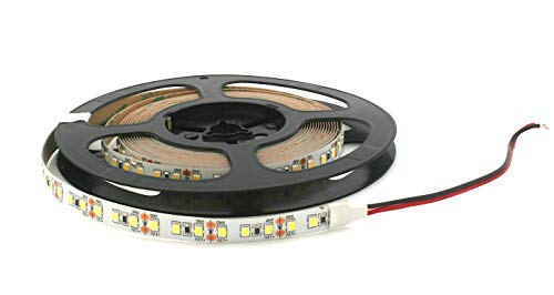 Ruban LED 5 m 12 V à intensité variable - 60 W 5000 lm - SMD 600 x 3528-120 SMD/m - IP20 - Blanc chaud