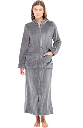 Alexander Del Rossa Women's Zip Up Fleece Robe, Warm Fitted Bathrobe, XL Steel Grey (A0307STLXL)