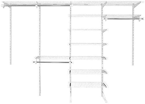 Rubbermaid FastTrack Closet Kit, White, 6-10 Ft., Wire Shelving Kit with Expandable Shelving and Telescoping Rods, Custom Closet Organization System, Easy Installation