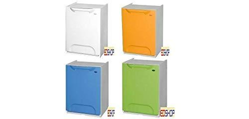 Set 4 Cassonetti per raccolta differenziata, in plastica. Contenitori autoportanti (GIALLO/BIANCO/BLU/VERDE)