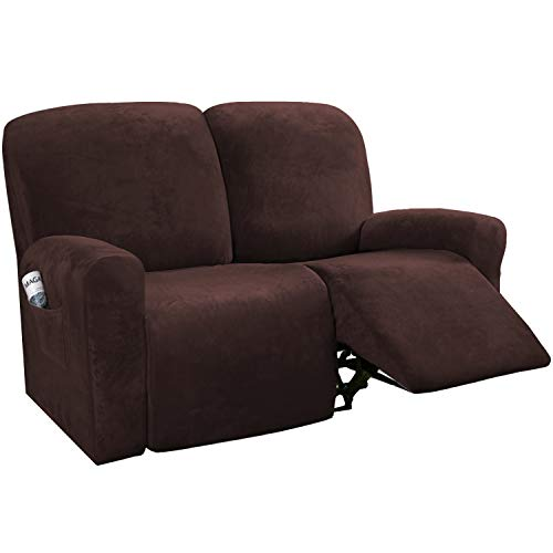 H.VERSAILTEX 6-Pieces Recliner Loveseat Covers Velvet Stretch Reclining Couch Covers for 2 Cushion Sofa Slipcovers Furniture Covers Form Fit Customized Style Thick Soft Washable(Medium, Brown)
