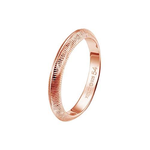 Xenox Damen Ring Sterling Silber 925 in Roségold - Leaf XS1892R, Ringgröße (Durchmesser):54 (17.2 mm Ø)