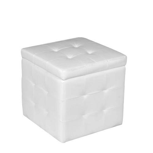 Esidra Pouf Contenitore in finta pelle, Pouf Cubo, 47 x 45 x 45 cm, finta_pelle, Bianco, BIG