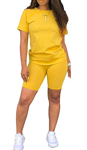 Womens Lightweight 2 Piece Sports Outfit Tracksuit Shirt Shorts Jogger Sportswear Set Solid Yellow