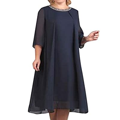RAINED-Women Casual Long Dress Chiffon Plus Size Maxi Dress Solid Color Three Quarter Sleeve Dress Pleated Swing Dress