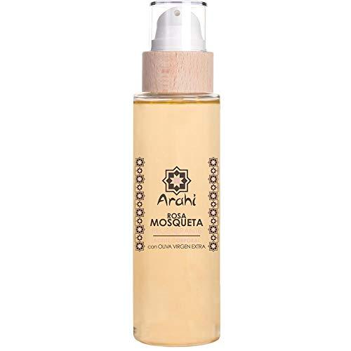 Aceite corporal de rosa mosqueta con aceites de oliva y almendras virgen extra y vitamina E. Para pieles muy secas, deshidratadas o con marcas o cicatrices. 200 ml