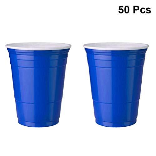TOYANDONA 50 stücke einweg plastikbecher einweg kaltes getränk Partei tassen einweg Geschirr für Spiel Cafe Partei liefert 450 ml (blau)