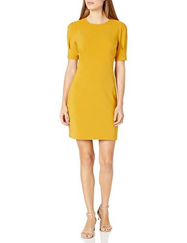 Amazon Brand - Lark & Ro Women's Fluid Stretch Crepe Puff Half Sleeve Crew Neck Dress, Chai Tea, 4
