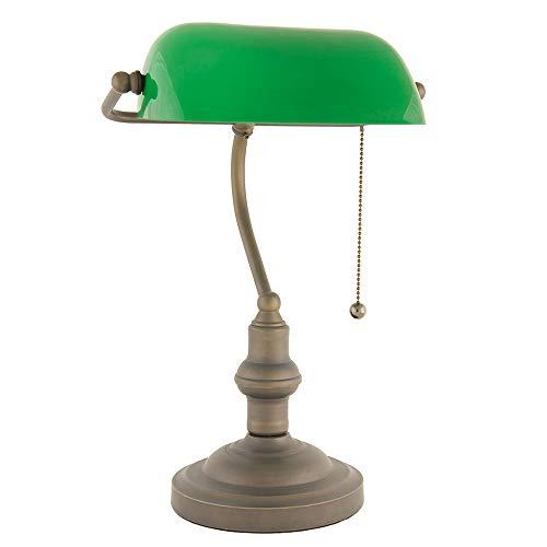LumiLamp 5LL-5125 - Lámpara de Escritorio con Pantalla de Cristal, diseño de banqueros, Color Verde Diámetro 27 x 40 cm, lámpara clásica.