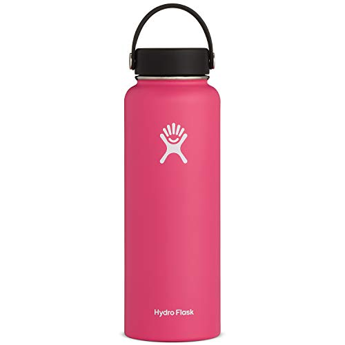 Hydro Flask Water Bottle - Stainless Steel & Vacuum Insulated - Wide Mouth with Leak Proof Flex Cap - 40 oz, Watermelon