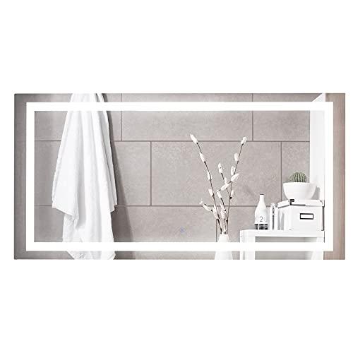 kleankin Espejo de Baño con Luz LED 120x60 cm Espejo de Par