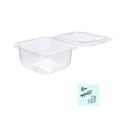 Einweg-Behälter für Lebensmittel, 500 ml, 50 Stück, geeignet für die Verwendung in Mikrowelle, inkl. 10 Aufkleber (Bon Appetit), luftdichte Behälter aus Kunststoff mit Deckel