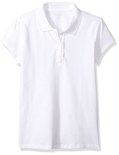 The Children's Place Girls' Little Uniform Short Sleeve Polo, White - Ruffle 44391, Small/5/6