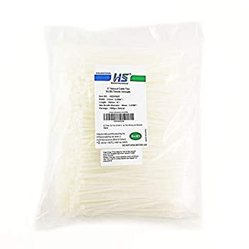 HS Clear Zip Ties 6 Inch Small  1000 Pack  18 LBS Self Locking Zip Ties White Nylon Ties Thin,Strong and Durable