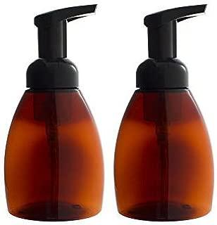 Amber Refillable Travel Foamer Pump BPA Free Plastic Bottle - 250 ml / 8.3 oz (2 pack) + Labels