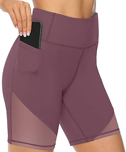 VOEONS Yoga Shorts for Women Spandex High Waisted Gym Shorts for Workout Biker Running Athletic Tummy Control with Pockets