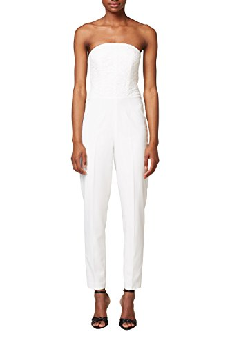 ESPRIT Collection Damen 038EO1L001 Jumpsuit, Weiß (Off White 110), 40