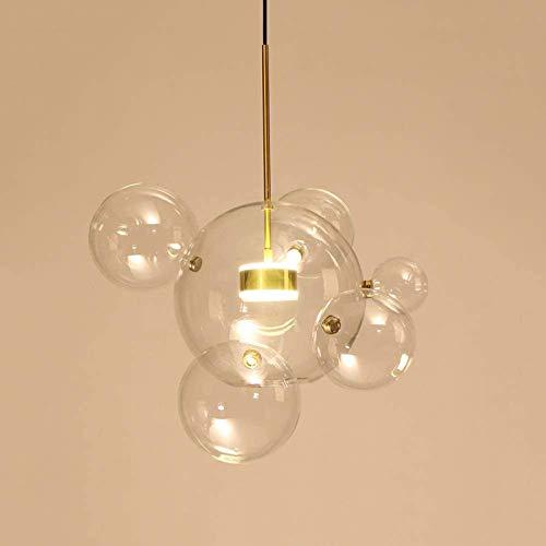 EDISLIVE Luces colgantes de vidrio transparente de 1 luz Globo de burbuja Lámpara colgante colgante Lámparas de techo