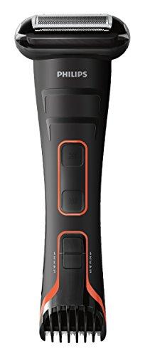 Philips BodyGroom TT2039/32 - Afeitadora corporal inalámbrica, con cabezal de recorte y de afeitado, 50 min de uso/8 h de carga, negro y naranja