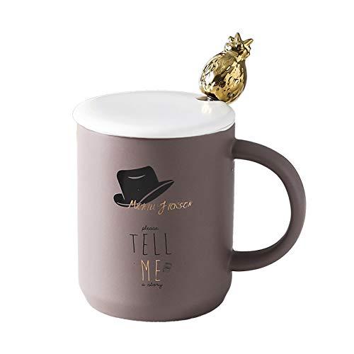 N/ A Cartoon goldene Ananas Tasse mit DeckelMetalllöffel, MikrowelleMilch Tasse Home Office Drinkware Mode Keramik Tasse Tassen