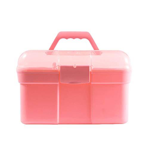 Sxgyubt Boîte de rangement pour outils de manucure Grande capacité Portable Double couche taille unique rose